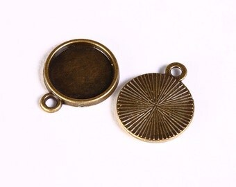 12mm antique brass tray Pendant - 12mm cabochon settings - antique brass findings - nickel free (1420) - Flat rate shipping