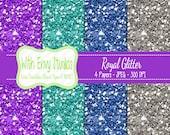 SALE Glitter Digital Scrapbook Paper Pack - Glitter Scrapbook Paper Set - Purple Glitter - Blue Glitter - Instant Download