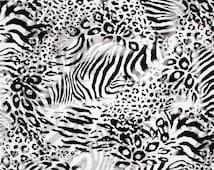 Fat Quarter, Wild by Fabri Quilt, Zebra Print Fabric, Leopard Print Fabric, Black and White Fabric, 05140