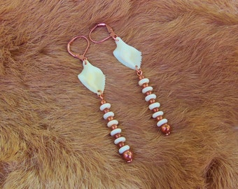 Gar Fish Scale and Copper Earrings with Round Bone Donut Beads