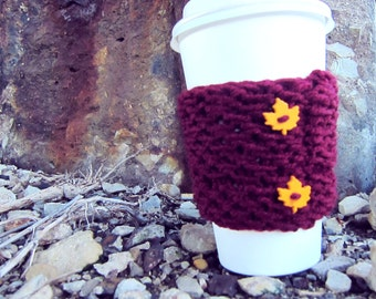Starbucks Cup Cozy Knitted Mug Warmer Coffee Red Burgundy Leaf Autumn Button Loop Tea Hot Cocoa Sleeve Cover Knit Crochet  Disposable Cup