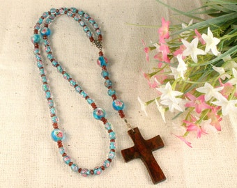 Blue Rosary Necklace, Wood Cross Necklace, Christian Necklace, Cross Pendant, Cross Jewelry, Rosary Jewelry, Christian Jewelry