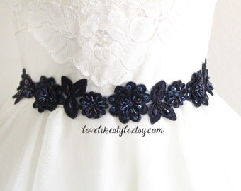 Navy  Beaded Lace Sash, Navy  Lace Headband ,  Bridal Headband, Bridesmaid Sash, Flower Girl Sash