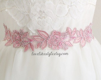 Vintage Pink  Embroidery Flower Lace Sash,  Bridal Pink Sash Belt, Bridesmaid Sash,  Bridesmaid Headband , Head Tie.