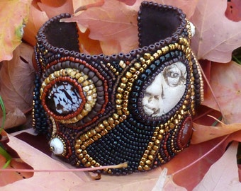 The Old House: Half Past Midnight, a Bead Embroidered Cuff