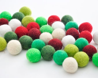 Christmas Felt Balls, Xmas Felt Ball Set, 40 Pieces Wool Felt Balls