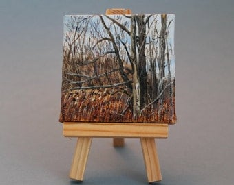"""Landscapes Original Acrylic Painting 3""""X3"""": Out on a Limb"""