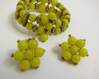 Vintage Lemon Celluloid Earrings & Memory Wire Bracelet