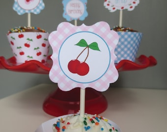 Retro Cherry Party Printable Party Squares - DIY Cupcake Toppers - With a Cherry on Top