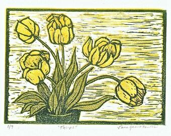 Yellow Tulips block print