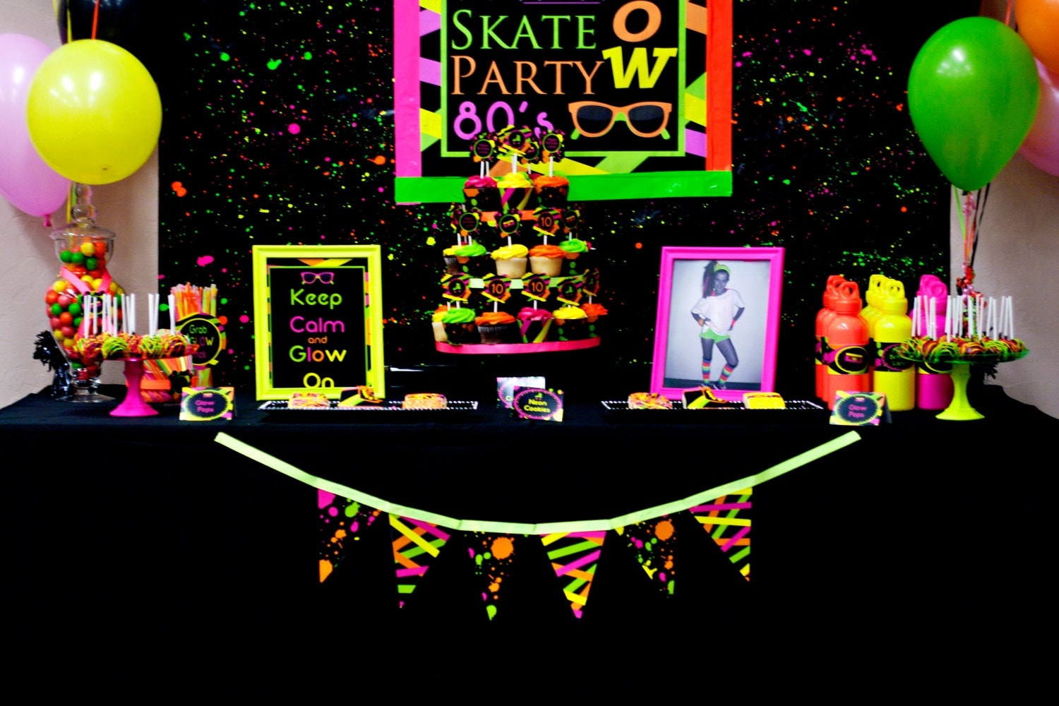 Neon party 80 39 s party skate party by lillianhopedesigns on for 80 birthday party decoration ideas