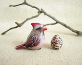On sale.Cardinal figurine, Mama cardinal with her egg. One of a kind