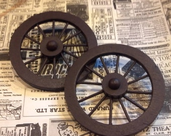 Miniature Wooden Wagon Wheels / Small Doll House / Diorama / mixed media Supply / altered art supplies / assemblage / art doll / rustic
