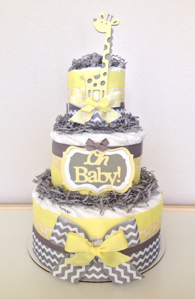 neutral chevron yellow and gray giraffe diaper by poshpartycompany