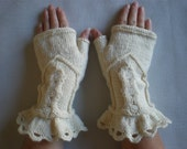 Hand-knitted creme color women fingerless gloves/wrist warmers