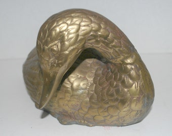 Brass duck   solid brass duck  paper weight vintage brass water fowl