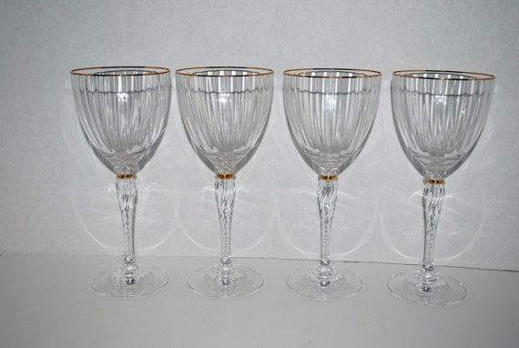 crystal wine glasses fine crystal set of 4 by capecodgypsy