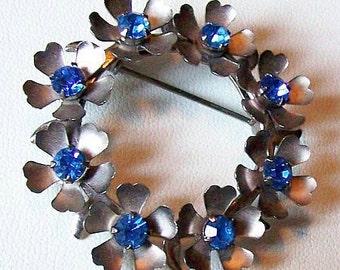 "Vintage Brooch Pin Blue Rhinestones Wreath Style Floral Design Silver Metal 1 3/4"" Vintage"