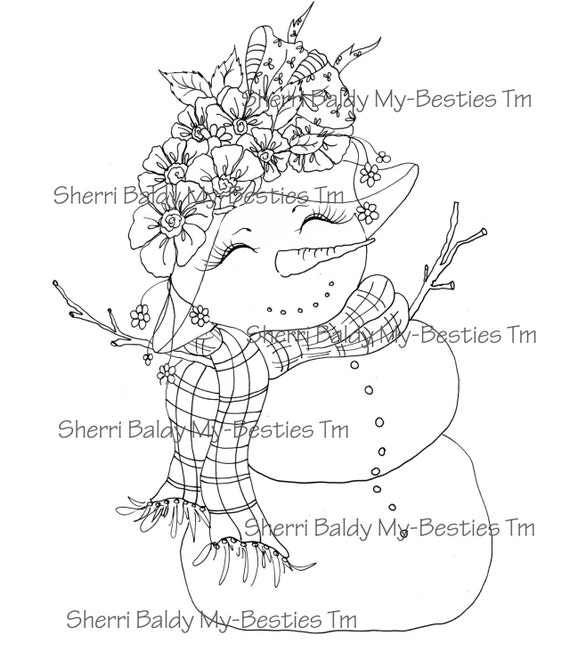 INSTANT DOWNLOAD Digital Digi Stamps Big Eye Big Head Dolls Digi  Snow Pretty Snow man Winter By Sherri Baldy