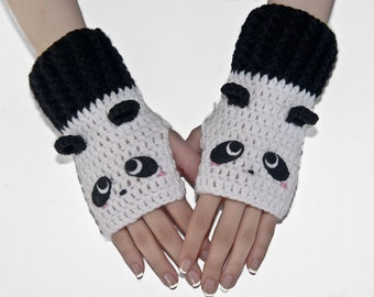 Crochet Gloves-Panda Fingerless Gloves-Bear Gloves-Animal Gloves-Fingerless Gloves-Women Gloves- Black And White- Kawaii-Mittens-