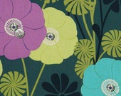 RARE Floral Fabric by the Yard  Brooklyn Heights by Kitty Yoshida for Benartex  blue turquoise orchid purple lime green Quilt Fabric DESTASH