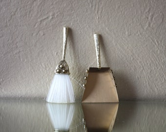 Vintage Tiny Vanity Brass Broom and Dust Pan