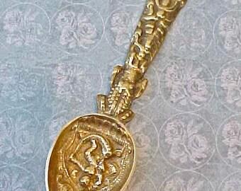 Handsome Vintage Renaissance Style Brass Serving Spoon