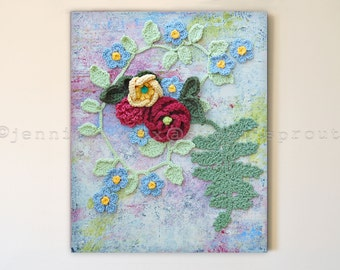 """Poppy Flower with Fern Leaf 16"""" x 20"""" x 1-1/2"""" CROCHET + PAINTING, Cement Textured Background with Tiny Blue Flowers, Carnation, Buttercup"""