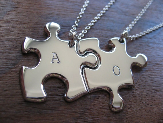 Two Personalised Puzzle Silver Pendant Necklaces