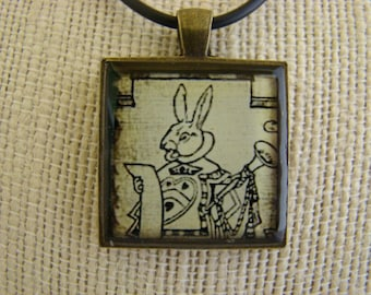 Resin Pendant, The White Rabbit, Vintage Inspired, Rustic, Brone,1 inch, Square