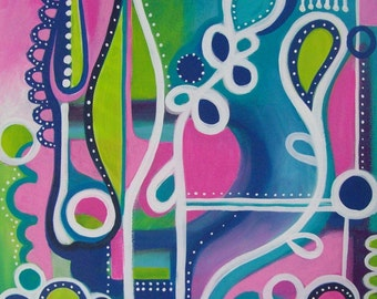 original pink and turquoise acrylic painting on canvas