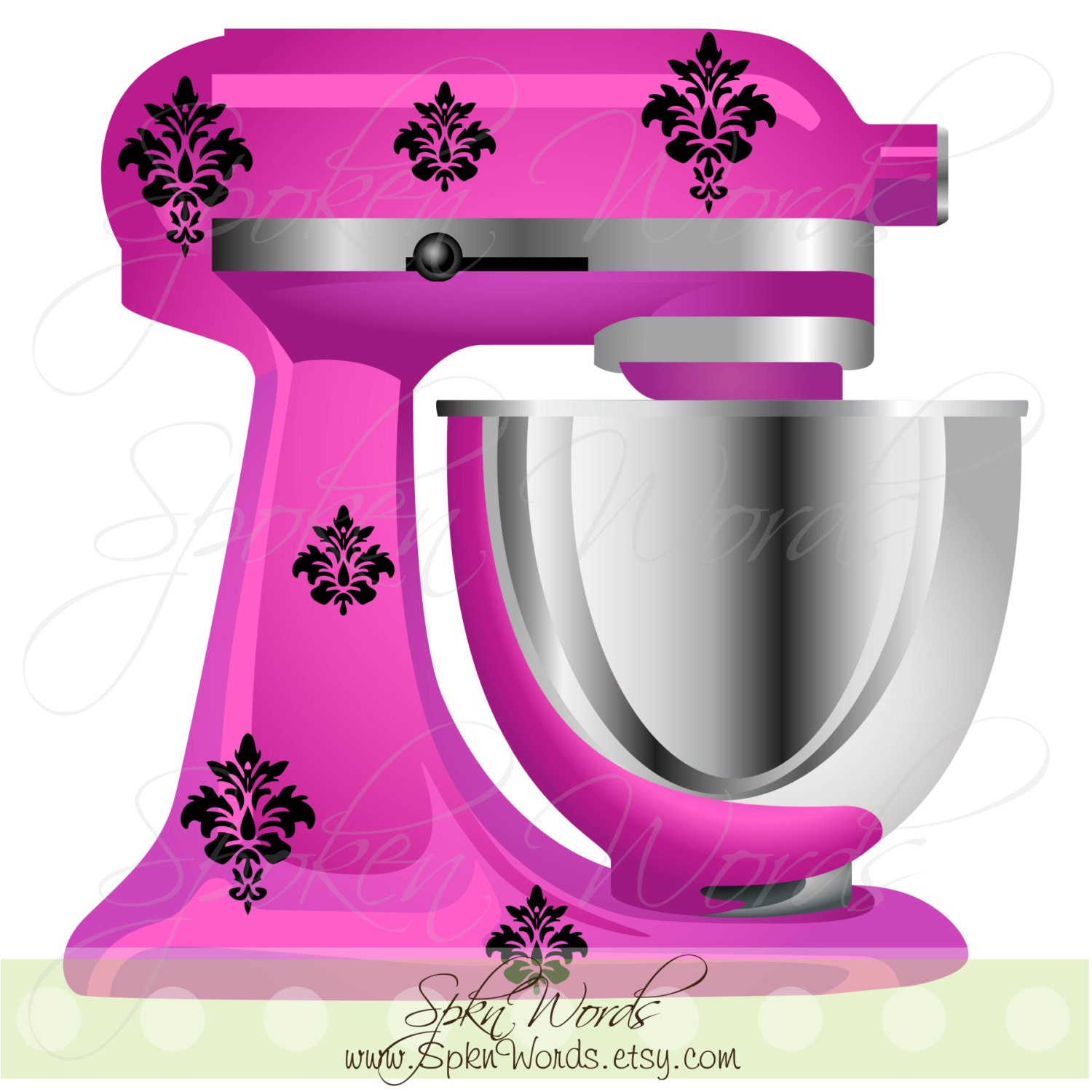 Kitchenaid Mixer Damask Decals Decoration Vinyl Decal For