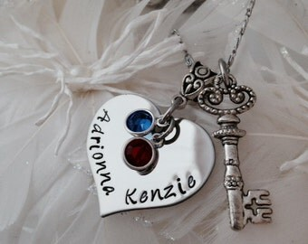 Personalized Hand Stamped Key to Your Heart Valentine Necklace with Key Charm