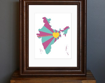 India Love Art Print - Home is wherever I'm with you quote - Mumbai, New Delhi, Hindu, Indian decor - fuchsia, teal, and yellow - 8 x 10
