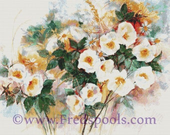 Counted Cross Stitch Kit By Anne Muller - Dog Roses