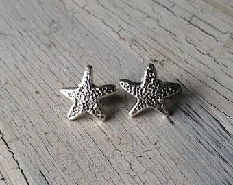 Silver Starfish Earrings - Starfish Stud Earrings - Silver Stud Earrings, Starfish Post Earrings