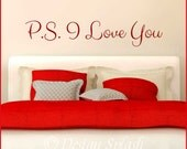 P.S. I Love You Typographic Inspirational Vinyl Wall Decal Quote Sticker Q-114