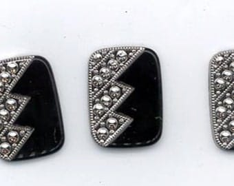 Three gorgeous vintage lucite flat-backed cabochons - textured dark silver and black - 26 x 19 mm