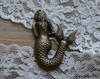 2 Pcs Mermaid Charms Antique Bronze Small Charm Jewelry Supplies (BA127)