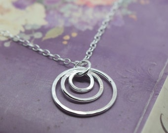 Silver Karma Necklace - Solid Sterling Silver 925 Eternity Infinity 3 Triple Ring Friendship Chain Pendant