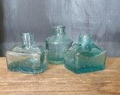 Vintage Ink Bottles - Aqua green glass bottles