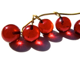 SUPPLY: 30 Translucent Red Glass Charms - Lamp Work - 9mm - (3-A2-00005292)