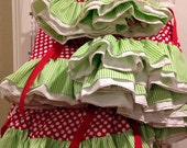"46"" red polka dots and lime green stripe whimsical Christmas tree skirt with ruffle"