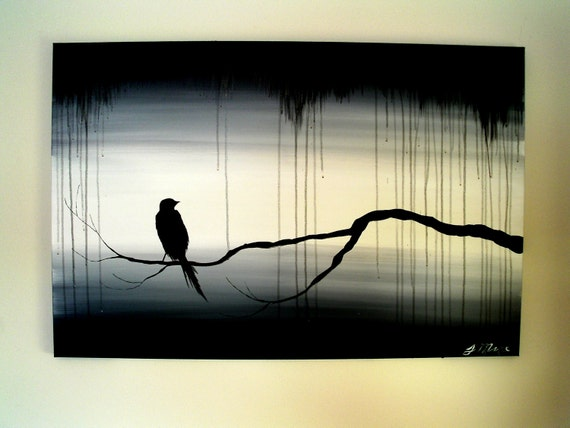 the perched crow large neautral drip painting creative