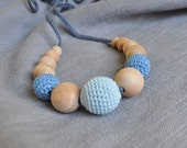 Blue Nursing Necklace/Teething Necklace by SimplyaCircle-Breastfeeding Necklace-Eco-Friendly-Mother's day