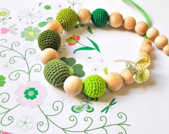 Total Green Nursing Necklace/Teething Necklace by SimplyaCircle-Breastfeeding Necklace-Eco-Friendly-Mother's day