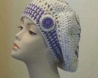 Crocheted Beret Hat - Boho - Beret Hat - Slouch Hat - Oversized Beret - FREE UK DELIVERY
