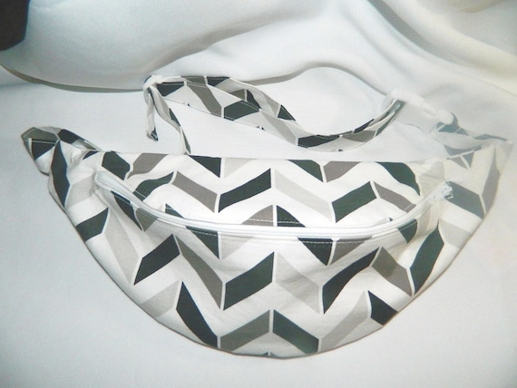Gray Black and White Chevron Print Fanny Pack Hip by reneesvanity