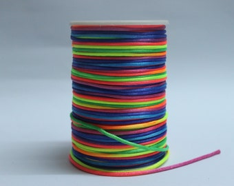 10 Yards rainbow  Rattail Cord, Knotting cord, rainbow Satin cord, 2 mm wide, Beading cord, Jewelery supplies, cord for bracelets