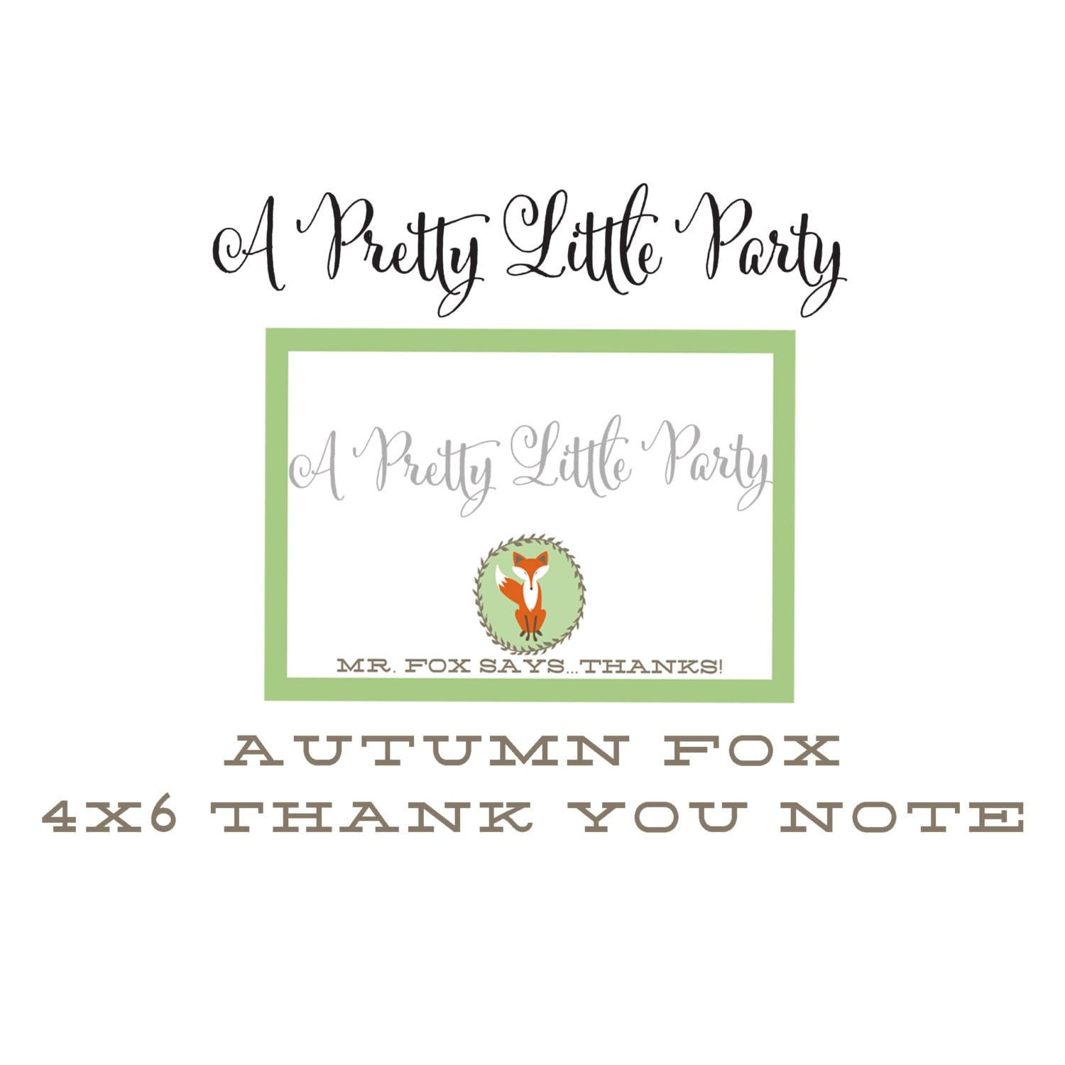 FOX Thank You Note  - Woodland Fox Digital files - Party Supplies - INSTANT DOWNLOAD
